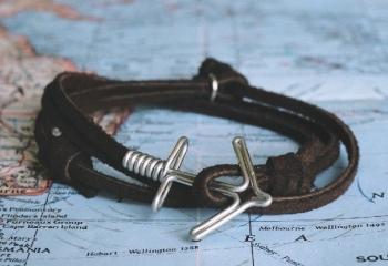 Морской тренд: браслеты с якорем <span id=